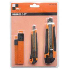 2x Noże na ostrza łamane + Wymienne ostrza MAT-63024