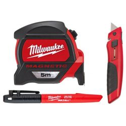 Taśma Magnetyczna 5m + Marker + Nożyk - Zestaw Milwaukee