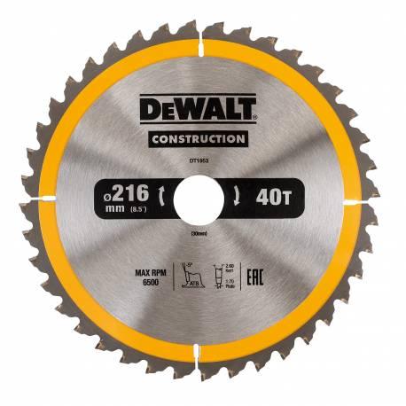 Tarcza do drewna do pilarek ręcznych DeWalt 216x30x40T DT1953-QZ
