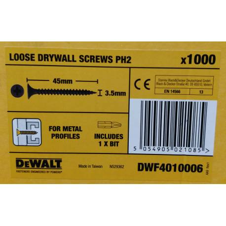 Wkręt do profili 3,5x35 mm - DeWalt DW PH2 1000szt