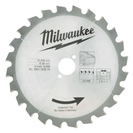 Tarcza pilarska do drewna 216x30x24 Milwaukee WCSB