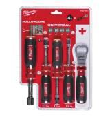 Zestaw 4 magnetycznych kluczy nasadowych 7,8,10,13mm Milwaukee Hollowcore + otwieracz